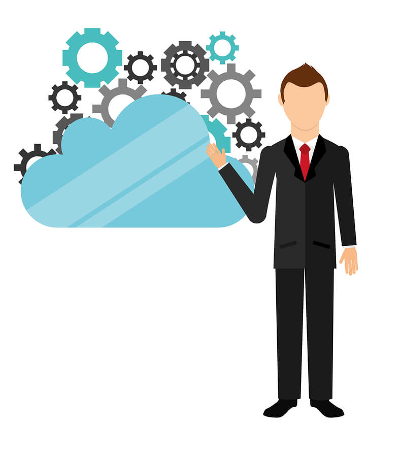 Illustrated image of man pointing to a blue cloud with cogs coming out of it