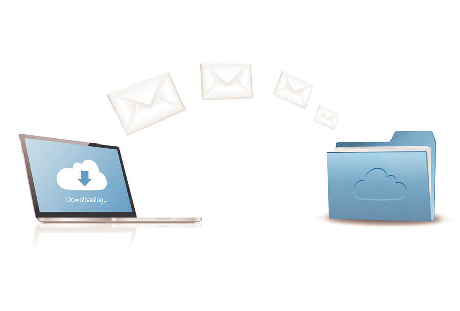 Floating envelopes from a laptop to a file illustrating syncing of mail boxes