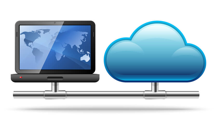 laptop and blue cloud side by side connected by a silver connected rod to illustrate a network for hosted desktop