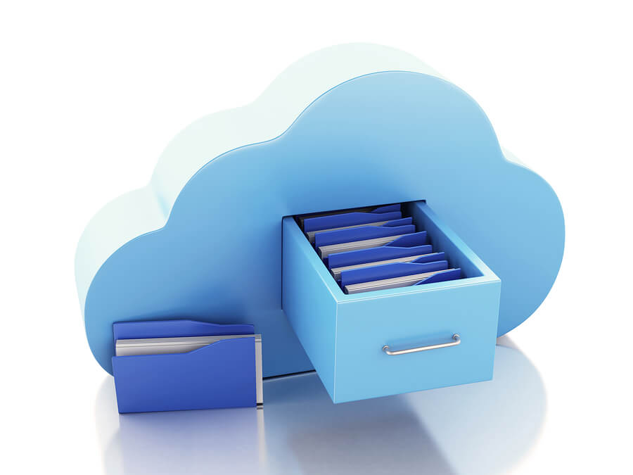 Blue cloud with a filing cabinet coming out of it illustrating storage to the cloud