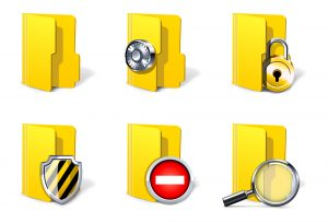 image of 6 yellow folders with different images on them