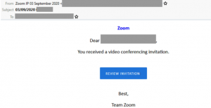 example of a scam email pretending to be from Zoom