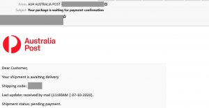 example of Australia Post scam email