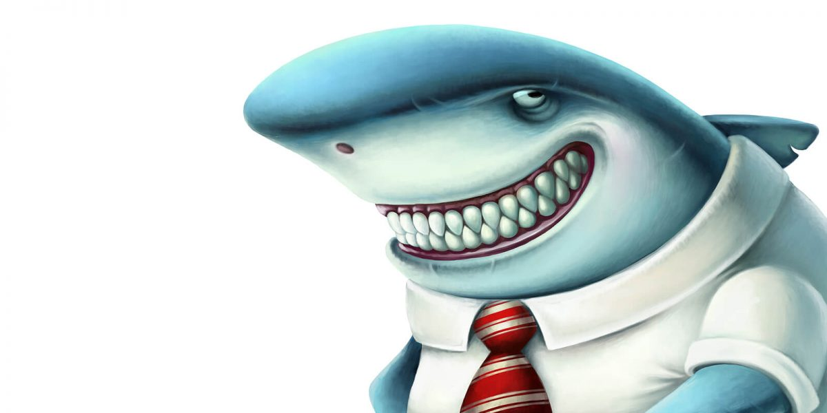 cartoon shark in a shirt and tie smiling