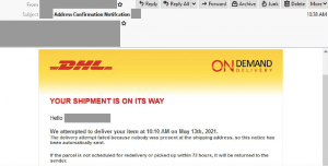 email pretending to be from DHL with DHL branding
